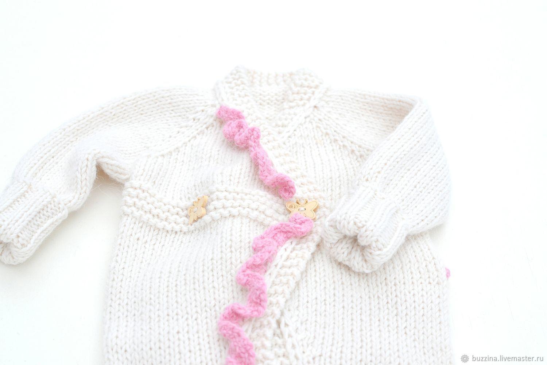 Для новорожденных, ручной работы. Ярмарка Мастеров - ручная работа. Купить Комбинезон для новорожденной девочки теплый комбинезон на выписку. Handmade.