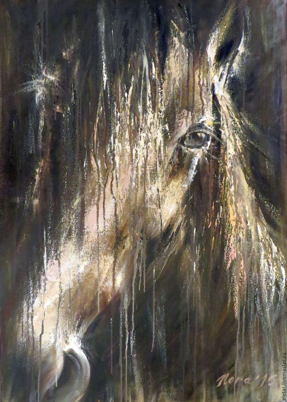 Картина с лошадью абстракция маслом любителю лошадей, Картины, Донецк,  Фото №1