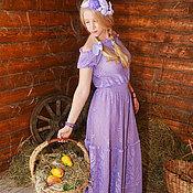 """Одежда ручной работы. Ярмарка Мастеров - ручная работа """"Лавендель""""платье , связанное крючком в технике филейного кружева. Handmade."""