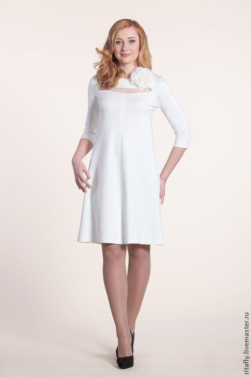 платье коктейльное из джерси с сеткой рукава 3/4 платье до колен белое платье платье свободное платье трапеция платье большие размеры платье вечернее большого размера платье для полных свадебное плать