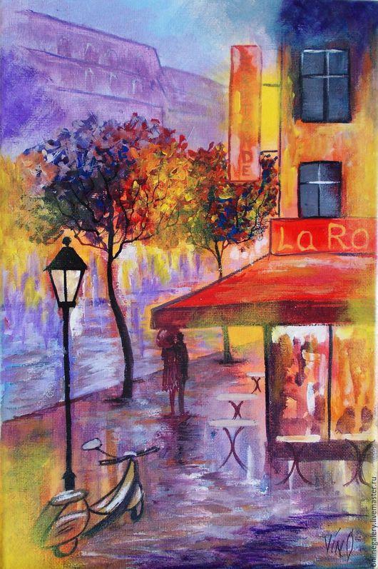 """Люди, ручной работы. Ярмарка Мастеров - ручная работа. Купить Картина """"Париж"""" акрил 20х30см. Handmade. Комбинированный, картина в подарок"""