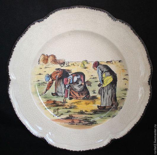 Винтажные предметы интерьера. Ярмарка Мастеров - ручная работа. Купить Тарелка панно блюдо Франция 54. Handmade. Разноцветный, антиквариат