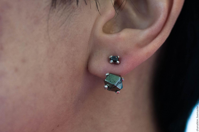 Raw diamond Ear Jacket Earrings - Ear Jacket Uncut diamond pyrite, Stud earrings, Almaty,  Фото №1