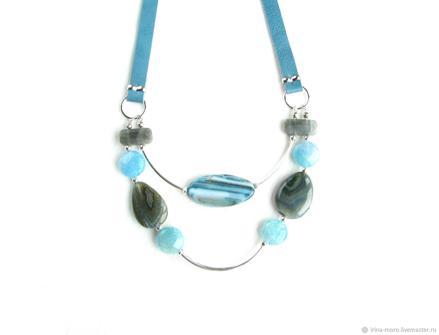 Blue leather choker 'Splash' necklace with agates and Labrador, Necklace, Moscow,  Фото №1