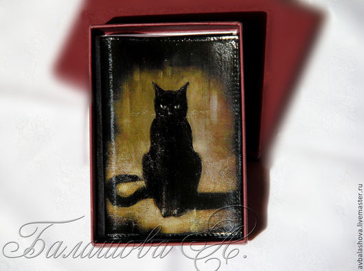 """Обложки ручной работы. Ярмарка Мастеров - ручная работа. Купить Обложка для паспорта """"Черная королева"""". Handmade. Черный, черный кот"""