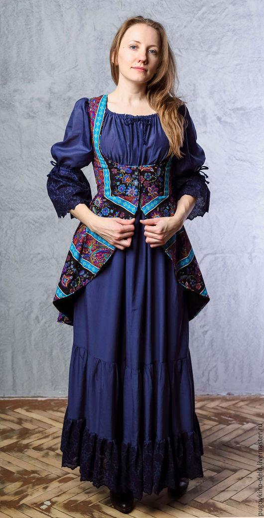 Платья ручной работы. Ярмарка Мастеров - ручная работа. Купить Длинное воздушное платье с шитьем по низу и рукавам. Handmade.