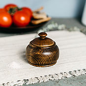 Посуда handmade. Livemaster - original item Potbelly for honey, salt, spices, herbs Siberian Cedar salt shaker #K50. Handmade.