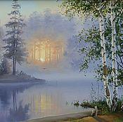 """Картины и панно ручной работы. Ярмарка Мастеров - ручная работа картина маслом """"Туманное утро"""". Handmade."""