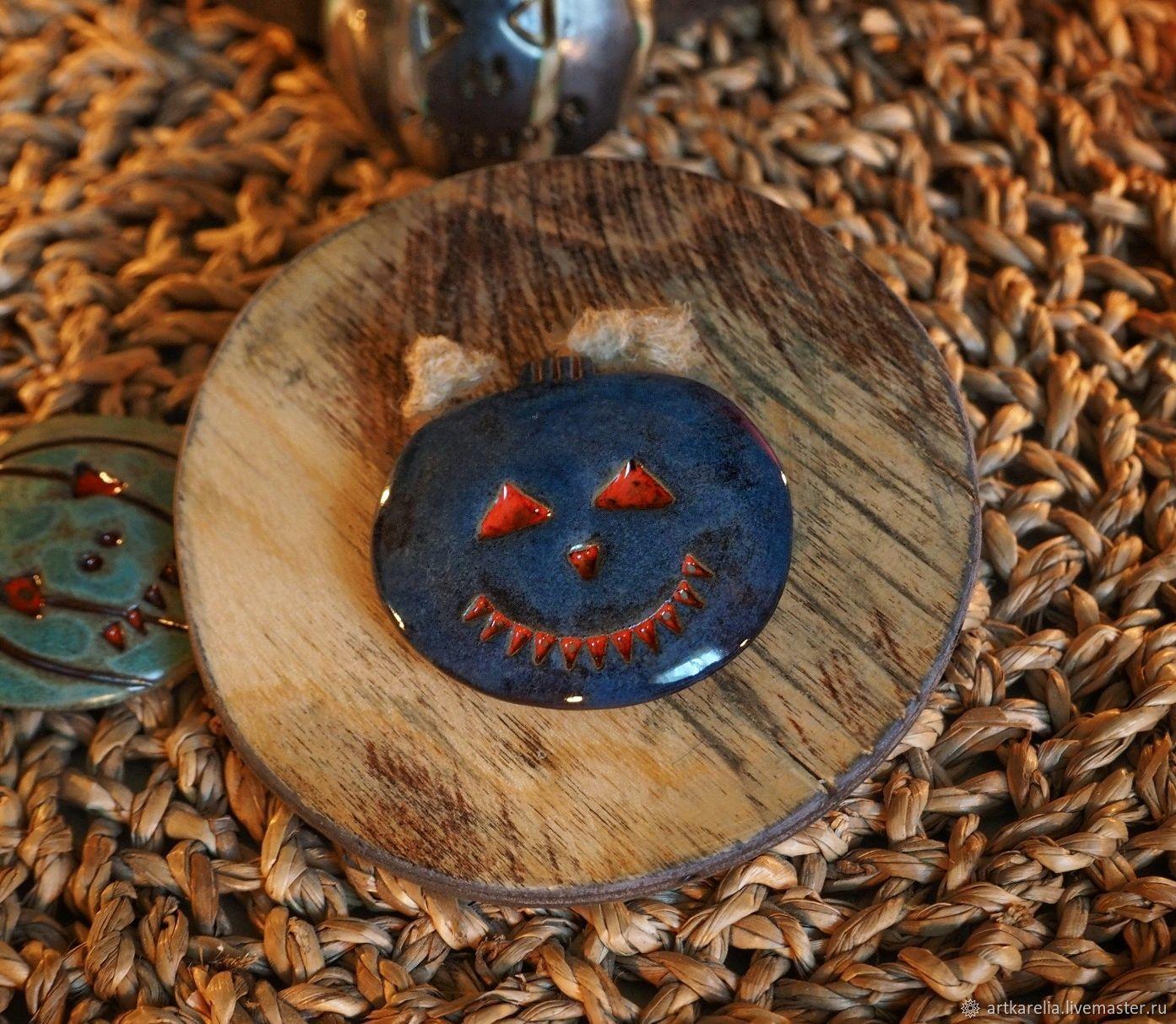 Магнитик ручной работы в форме тыквы,керамика, Магниты, Петрозаводск, Фото №1