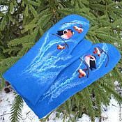 """Аксессуары ручной работы. Ярмарка Мастеров - ручная работа Валяные варежки """"Снегири"""" ярко-синие. Handmade."""