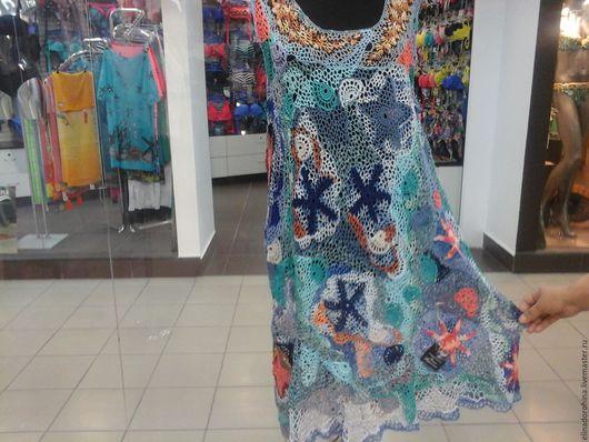 Большие размеры ручной работы. Ярмарка Мастеров - ручная работа. Купить туника платье в технике фриформ ( лето ). Handmade.