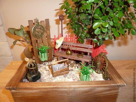Интерьерные композиции ручной работы. Ярмарка Мастеров - ручная работа. Купить Мини садик в ящике. Handmade. Мини-сад