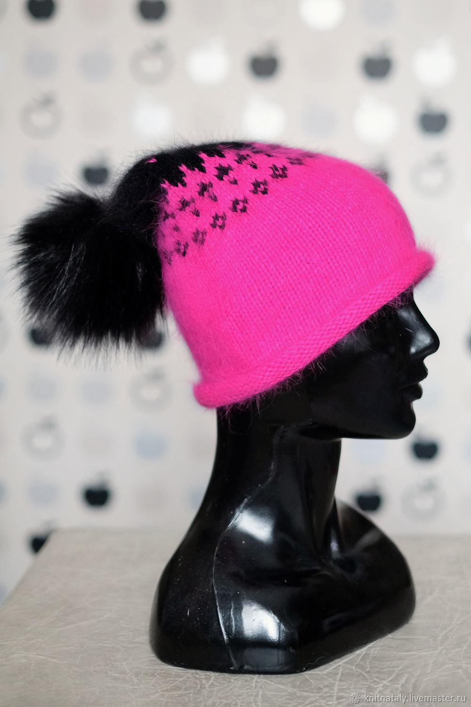 Ярко-розовая жаккардовая шапка из ангоры с помпоном, Шапки, Екатеринбург,  Фото №1