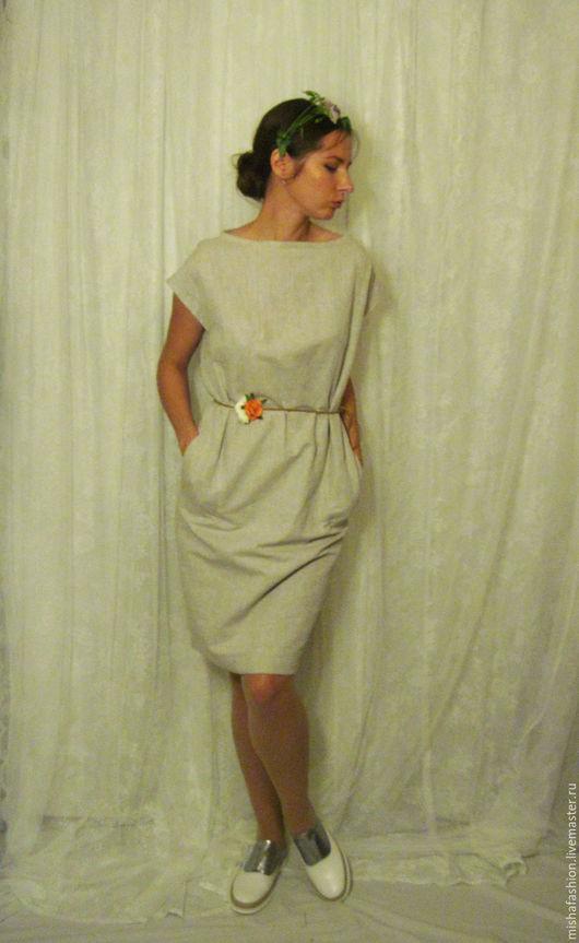 Платья ручной работы. Ярмарка Мастеров - ручная работа. Купить Льняное платье с цветочным поясом. Handmade. Бежевый, лен