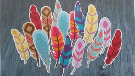 """Открытки и скрапбукинг ручной работы. Ярмарка Мастеров - ручная работа. Купить набор высечек """"Перья"""". Handmade. Комбинированный, декор перья"""