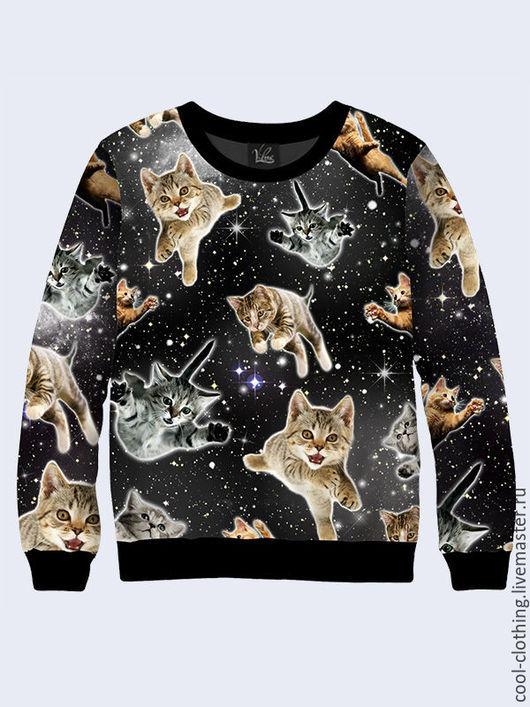 """Кофты и свитера ручной работы. Ярмарка Мастеров - ручная работа. Купить Свитшот """"Летающие коты"""". Handmade. Разноцветный, повседневная одежда"""