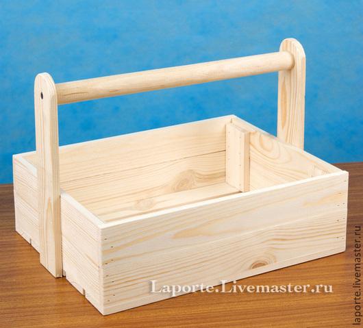 Деревянный реечный ящик с ручкой для подарочного набора. Заготовка из дерева для творчества