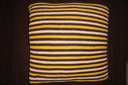 Текстиль, ковры ручной работы. Ярмарка Мастеров - ручная работа. Купить Подушка вязаная крючком. Handmade. Желтый, хлопок 100%