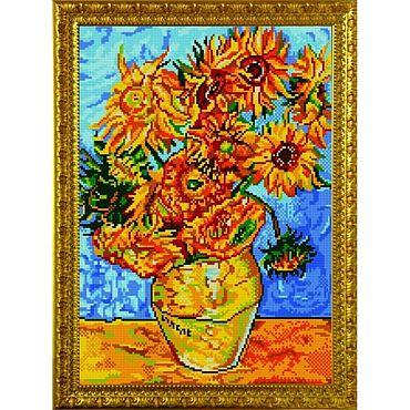 """Картины и панно. Ярмарка Мастеров - ручная работа Картина бисером """"Подсолнухи"""". Handmade."""