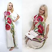 Одежда ручной работы. Ярмарка Мастеров - ручная работа Мак ослепительный - шелковое платье батик. Handmade.