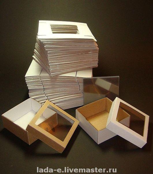 Упаковка ручной работы. Ярмарка Мастеров - ручная работа. Купить Коробочка с окошком ЗАГОТОВКА (цена за упаковку 50 штук), белый верх. Handmade.