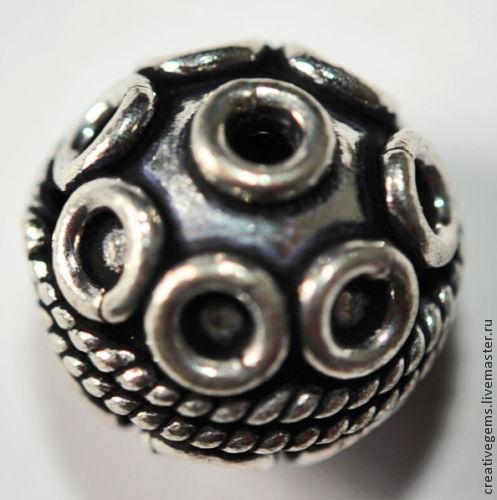 6409 - 13 мм Бусина из меди посеребренная, с чернением  Фурнитура для создания украшений в этно стиле своими руками для радости и удовольствия.