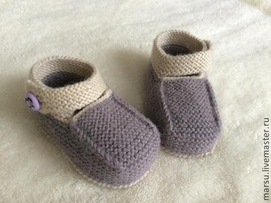 Для новорожденных, ручной работы. Ярмарка Мастеров - ручная работа. Купить Пинетки-сандалики детские вязаные. Handmade. Однотонный