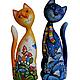 Игрушки животные, ручной работы. Ярмарка Мастеров - ручная работа. Купить Кошка и кот  . Скульптура, дерево , ручная роспись. Handmade.