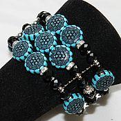 Украшения handmade. Livemaster - original item Bracelet made of blue beads with embossed Blue. Handmade.