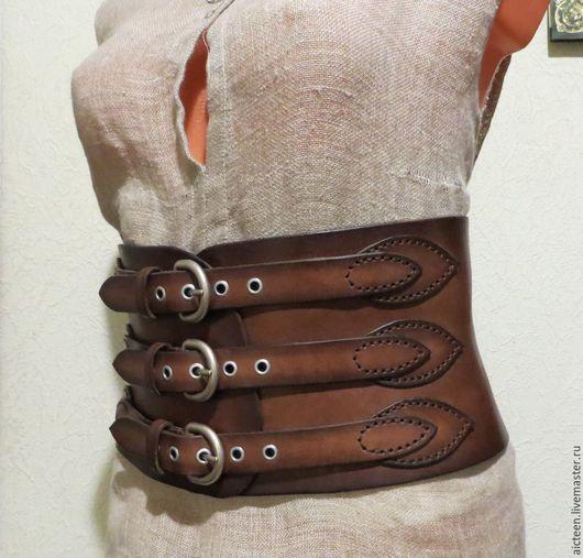 Пояса, ремни ручной работы. Ярмарка Мастеров - ручная работа. Купить Корсетный затемненный кожаный пояс. Handmade. Коричневый