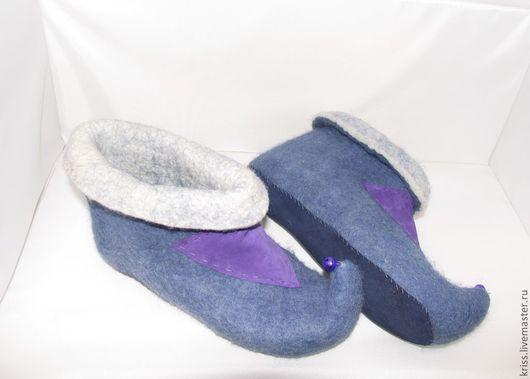 Обувь ручной работы. Ярмарка Мастеров - ручная работа. Купить тапки Колокольчики. Handmade. Фиолетовый, тапки из войлока, тапочки, кожа