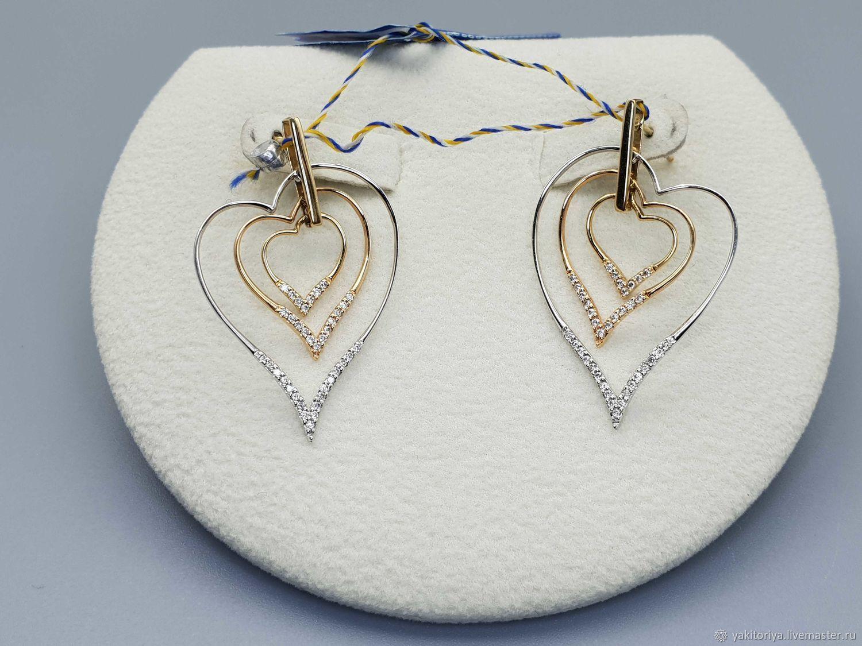 Золотые серьги с бриллиантами 0,320Ct, Серьги-пусеты, Москва,  Фото №1