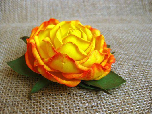 """Заколки ручной работы. Ярмарка Мастеров - ручная работа. Купить Заколка для волос """"Солнечная роза"""".. Handmade. Заколка для волос, фоам"""