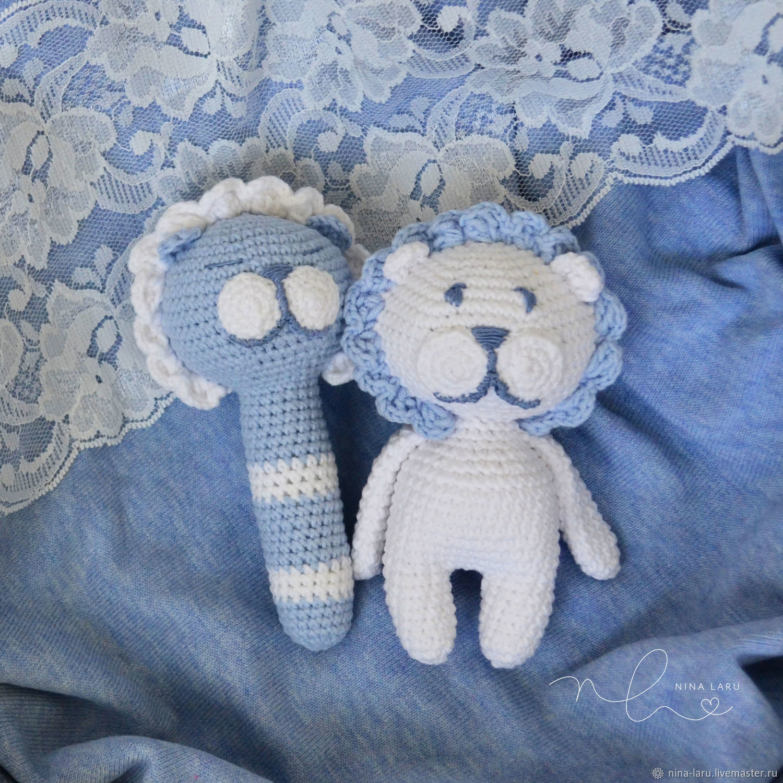 Львенок погремушка и игрушка набор для новорожденного, Мягкие игрушки, Челябинск,  Фото №1