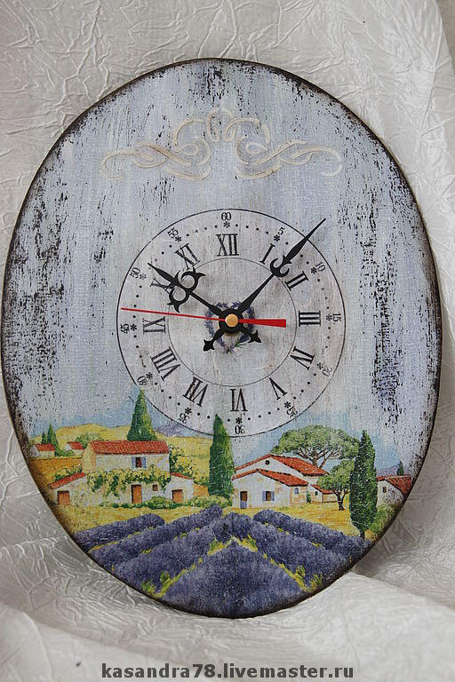 """Часы для дома ручной работы. Ярмарка Мастеров - ручная работа. Купить Часики """"Воспоминание о Провансе"""". Handmade. Часы настенные"""
