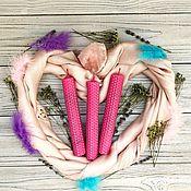 Ритуальная свеча ручной работы. Ярмарка Мастеров - ручная работа Розовая свеча-программа «Самая обаятельная и привлекательная». Handmade.