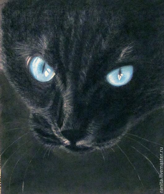 Животные ручной работы. Ярмарка Мастеров - ручная работа. Купить Картина пастелью. Портреты животных на заказ. Портрет чёрной кошки... Handmade.