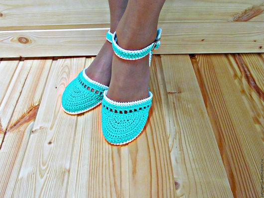 Вязаная обувь. Вязаные сандалии. Босоножки. Босоножки вязаные. Летняя обувь. Женская обувь. Мастер Черевички.