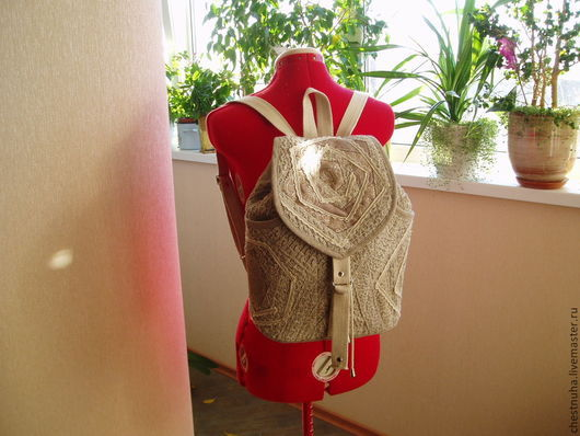 """Рюкзаки ручной работы. Ярмарка Мастеров - ручная работа. Купить Рюкзак льняной """"Нежность"""". Handmade. Рюкзак, льняной рюкзак"""