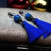 Украшения ручной работы. Ярмарка Мастеров - ручная работа Серьги-кисти «Синяя роза». Handmade.