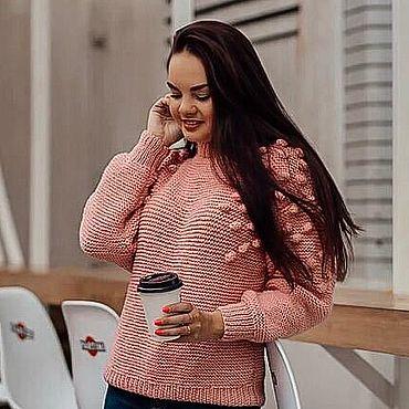 Одежда ручной работы. Ярмарка Мастеров - ручная работа Свитер с шишками розовый. Handmade.
