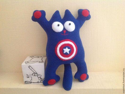 Кот Саймона в роли супергероя комиксов - капитана Америки.