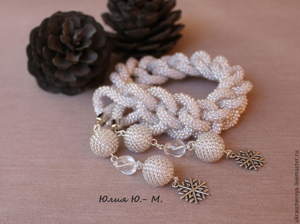 """Lariat """"Silver snowflake"""", the harness is beaded, knitted, silver, Lariats, Ryazan,  Фото №1"""