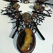 """Украшения ручной работы. Ярмарка Мастеров - ручная работа Колье """"Таинственные дебри""""  - черные кораллы и симбирцит. Handmade."""