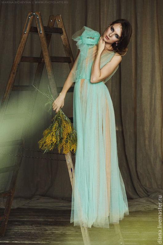 """Платья ручной работы. Ярмарка Мастеров - ручная работа. Купить Дизайнерское платье """"Кофе и мята"""". Handmade. Мятный, длинное платье"""