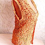 """Одежда ручной работы. Ярмарка Мастеров - ручная работа Ажурный жилет-накидка """"Осень"""". Handmade."""