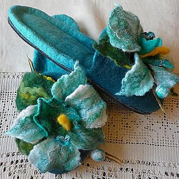 Обувь ручной работы. Ярмарка Мастеров - ручная работа Тапочки-шлепки валяные из шерсти Тайна бирюзовой орхидеи. Handmade.