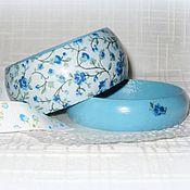 Украшения handmade. Livemaster - original item Set of baby blue floral bracelets and earrings. Wedding gift, shabby. Handmade.