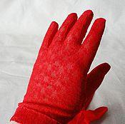"""Аксессуары ручной работы. Ярмарка Мастеров - ручная работа Винтажные перчатки """"Алый мак"""".. Handmade."""