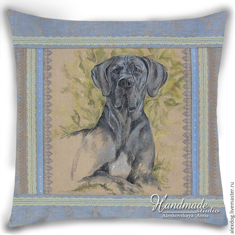 """""""Great Dane - blue color"""" / Decorative pillow with hand-painted, Pictures, Moscow,  Фото №1"""